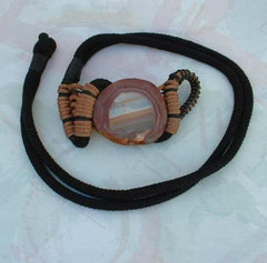 Manett Signed Genuine Agate Gemstone Belt Braided Unusual Accessory