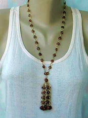 Hong Kong Brown Bead Waterfall Style Pendant Necklace Vintage Jewelry