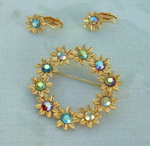 AB Rhinestone Floral Circle Pin Clip Earrings SET Colorful Vintage Jewelry