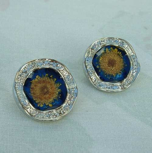 Limoges Style Foiled Enamel Mum Clip Earrings Cobalt Blue Yellow Vintage Jewelry