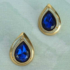 Cobalt Blue Post Earrings Faceted Teardrop Shaped Vintage Jewelry