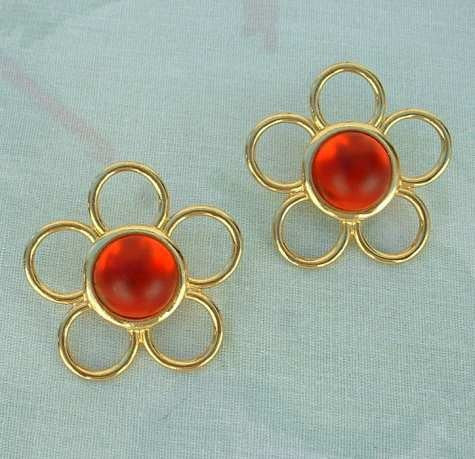 Rosecraft Earrings Red Lucite Moonglow Openwork Floral Post Style Vintage Jewelry