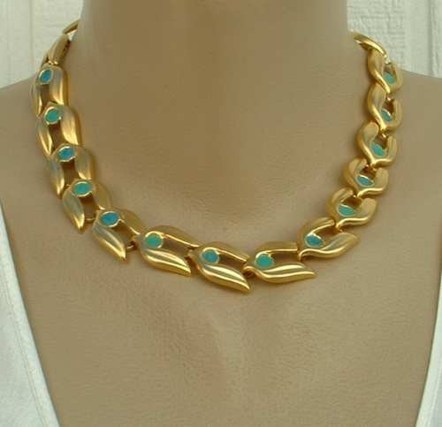 Vintage Tulip Link Necklace Matt Goldtone Teal Green Enamel Jewelry