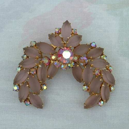 Pink Glass Moonstone Navette Brooch Watermelon Rhinestones Vintage