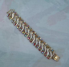 Watermelon Rhinestones Link Bracelet Florentine Finish Colorful