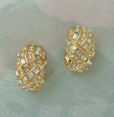 Christian DIOR Geometric Crystal Clip Earrings Baguettes Jewelry