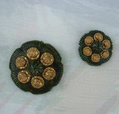 Bakelite c1935 Brooch Dress Clip Set Roses Green Vintage Jewelry