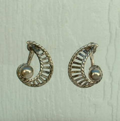 Van Dell Sterling Silver Openwork Screw Earrings Designer Vintage Jewelry