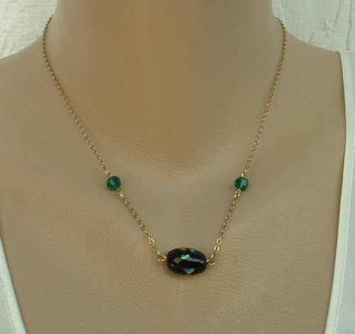 Sarah Coventry NIGHT GARDEN Late 1970s Blue Green Pink SET Necklace Earrings