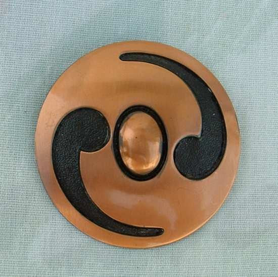 BELL Copper Retro Modernist Brooch Pin Vintage Jewelry
