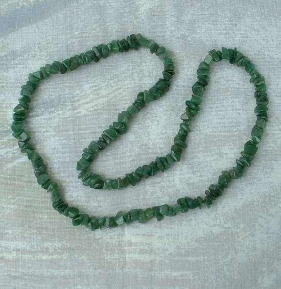 Jade Chip Necklace 26 inches long Gemstone Jewelry
