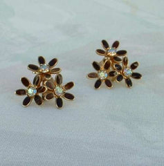 WEISS Flower Screw Earrings Black Brown AB Rhinestones Vintage Jewelry