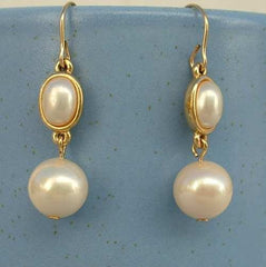 TRIFARI Faux Pearl Drop Dangle Earrings Wires Atomic Style Vintage Jewelry