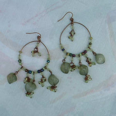 Copper Wire Hoop Earrings Green Dangles Jewelry