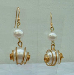 Wire Wrapped Faux Pearl Dangle Earrings Atomic Style Wedding Jewelry