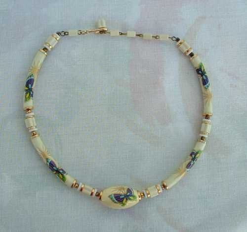 JAPAN Small Painted Bead Choker Necklace Butterfly Vintage Jewelry