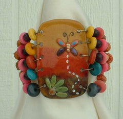 Nicaraguan Coconut Shell Bracelet Wide Butterfly Flower Hand Painted Jewelry