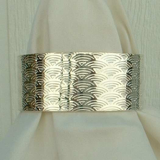 Wide Sterling Silver Cuff Bracelet Retro Embossed Pattern Jewelry