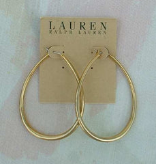 Lauren Ralph Goldtone Large Oval Hoop Earrings NWT Jewelry