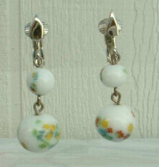 CELEBRITY NY Art Glass Bead Dangle Clip Earrings White Vintage Jewelry