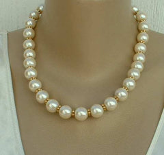 1928 Company Faux Pearl Necklace Goldtone Spacers Prom or Wedding Jewelry