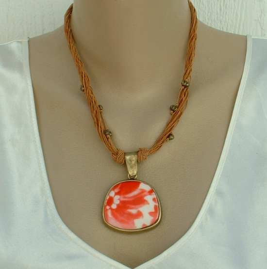 Coldwater Creek Red Orange Art Glass Pendant Necklace