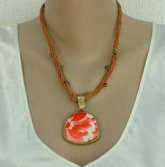 Coldwater Creek Red Orange Art Glass Pendant Necklace Jewelry