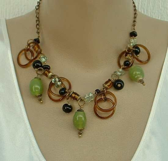 Chico's Faux Green Jade Tortoise Shell Finge Necklace