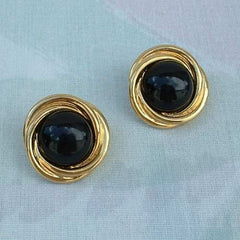 TRIFARI Black Glass Cabochon Post Style Earrings Swirled Goldtone Vintage Jewelry