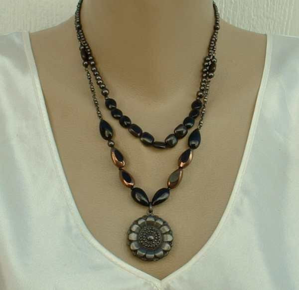 Liz Claiborne Double Strand Heavy Medallion Pendant Necklace Jewelry