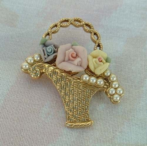 1928 Company Flower Pot Brooch Pin Roses Pearls Floral Jewelry