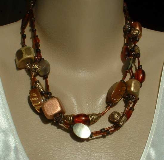 Chico's Distressed Bead 3 Strand Necklace Brown Gold Copper
