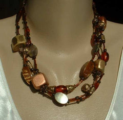 Chico's Distressed Bead 3 Strand Necklace Brown Gold Copper Jewelry