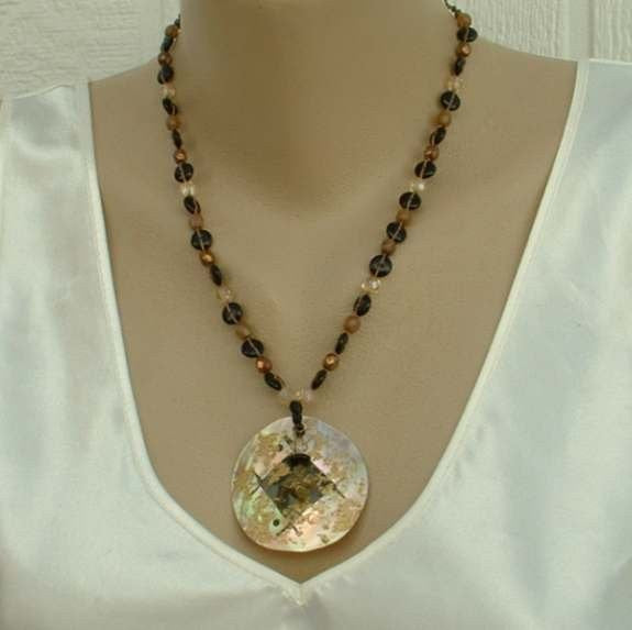Chico's MOP Shell Pendant Necklace Black Gold Flocked Enamel