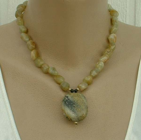 Olive Green Jasper Pendant Necklace Peridot Beads Gemstone Jewelry