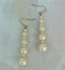 Graduated Glass Pearl Dangle Earrings Classy Wedding Jewelry