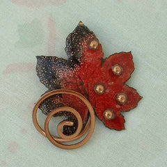 MATISSE Copper Enameled Maple Leaf Brooch Red Black Pin Vintage Jewelry
