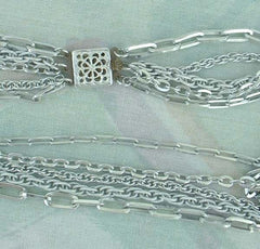 West Germany 5 Strand Lightweight Eloxal Aluminum Chain Necklace Vintage Jewelry