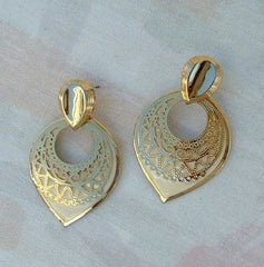 Goldtone Filigree Beige Dangle Post Earrings Elegant Jewelry