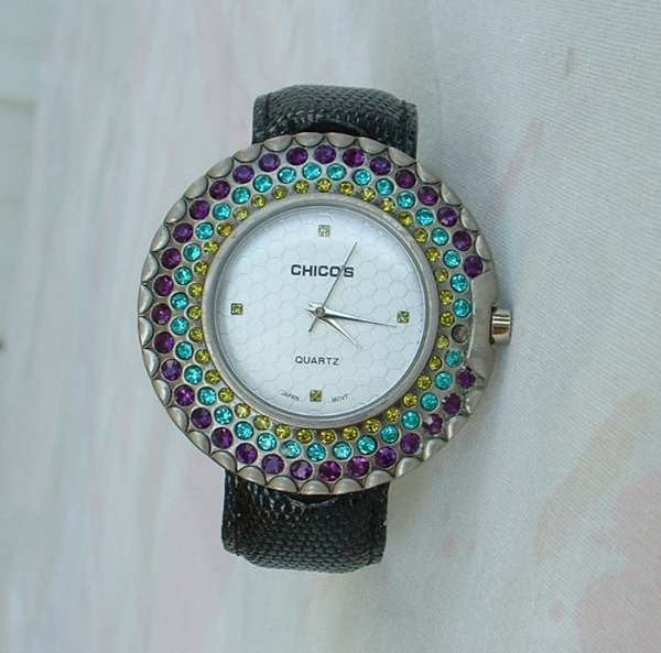 Chico's Large Watch Flexible Cuff Style Rhinestones 1970s Jewelry