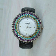 Chico's Large Watch Flexible Cuff Style Rhinestones 1970s Jewelry Teal Amethyst