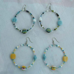 Two Pairs Large Beaded Hoop Earrings Multi Color Blue Yellow Jewelry