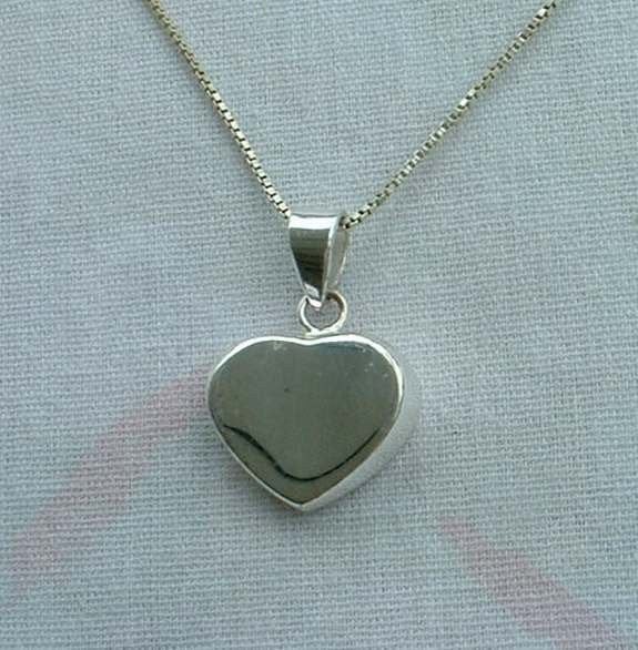 Silver Plated Curved Heart Pendant Necklace Sweetheart Jewelry