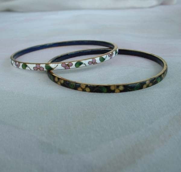 Pair Cloisonne Bangle Bracelets Black White Pink Yellow Green Vintage