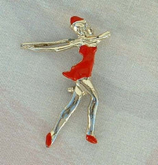 Ballerina Dancer Pin Red Figural Enamel Goldtone Dancing Vintage Brooch Jewelry