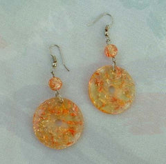 Confetti Lucite Dangle Earrings Bright Orange Yellow Vintage Jewelry