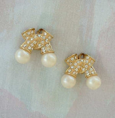 Pearl Rhinestone Clip On Earrings Bow Shaped Vintage Wedding Jewelry