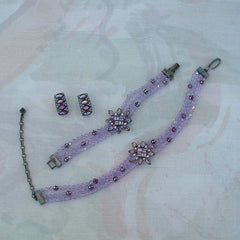 Givenchy Parure SET Necklace Bracelet Clip Earrings Purple Lavender Rhinestone Jewelry