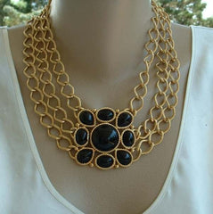 TRIFARI Triple Chain  Runway Necklace Black Cabochons Front Clasp Jewelry