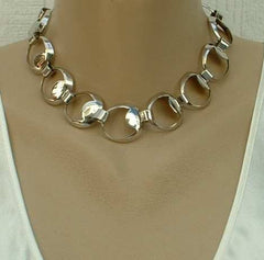 Sperry c1950s Looped Links Silvertone Necklace Vintage Jewelry